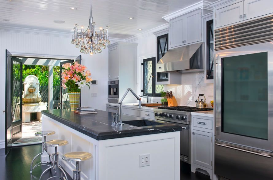 Jeff Lewis Kitchen jeff lewis, replaced marble island with soapstone, swapped out rh