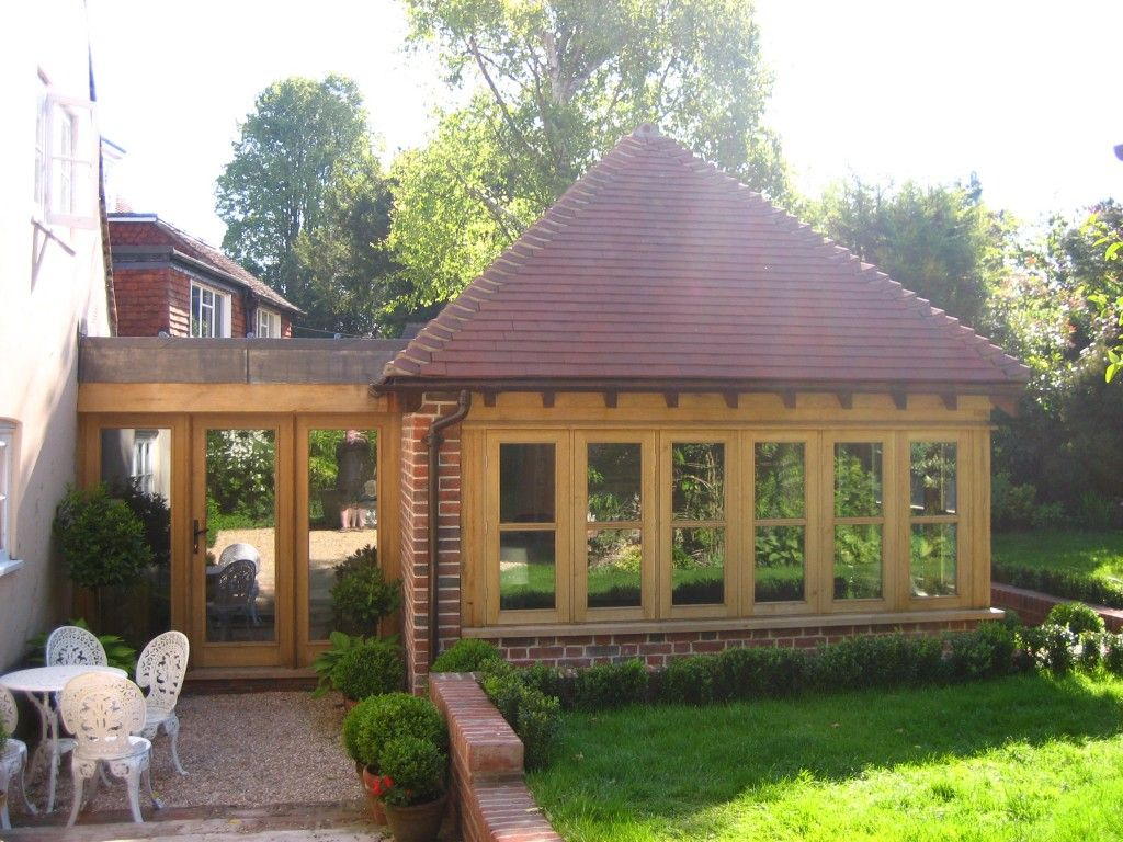 Wood and glass link extension extension ideas for Garage extension ideas