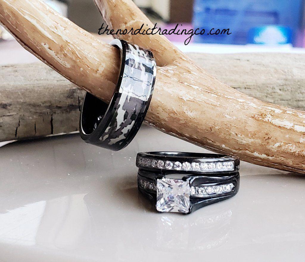 Camo Wedding Rings Women S Engagement Bridal Set Men S Tungsten