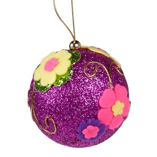 Ball Balls Decorations Fuschia Pink Fabric Ball Decorated With Multi Coloured Felt