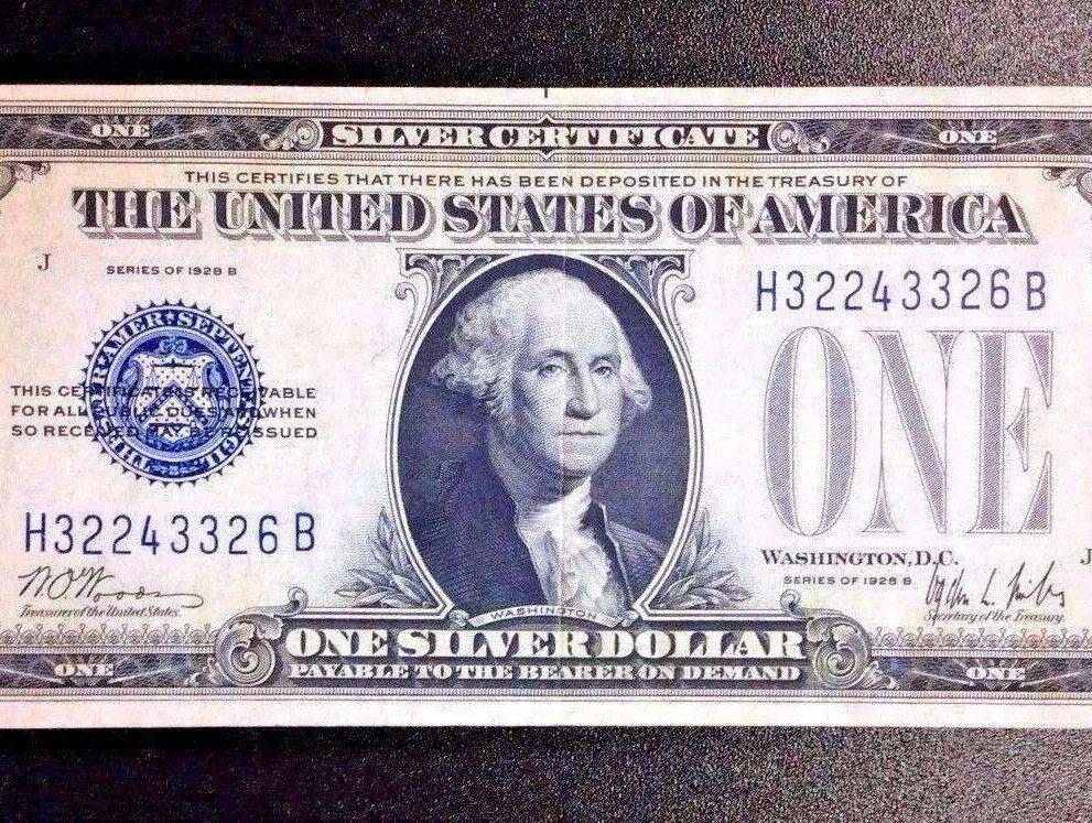1928 B 100 Blue Seal Silver Certificate Very Fine Condition
