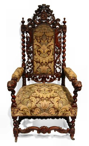 Jacobean Style Arm Chair, Tapestry Upholstered Carved Oak , English, Circa  1890