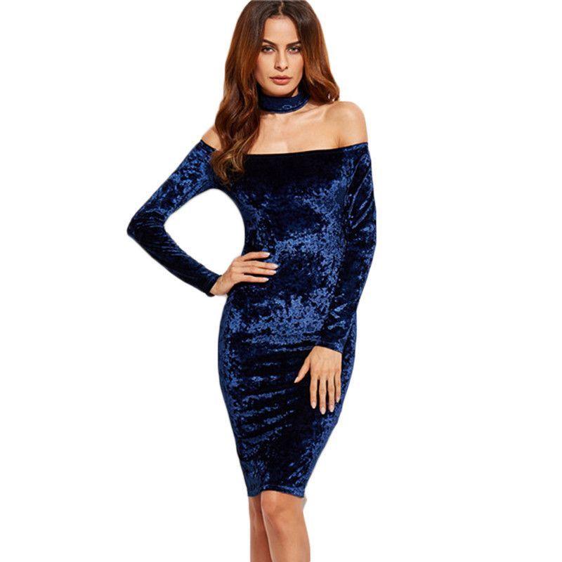 a6d93751fb Kenya Off Shoulder Velvet Choker Dress | Products | Samt