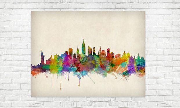 Skyline von Weltmetropolen als Print im Format 84 x 59 cm
