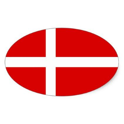 Danish flag of denmark oval sticker