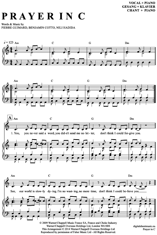 Prayer in C (Klavier + Gesang) Lilly Wood & The Prick and Robin Schulz [PDF Noten] >>> KLICK auf die Noten um Reinzuhören <<< Noten und Playback zum Download für verschiedene Instrumente bei notendownload Blockflöte, Querflöte, Gesang, Keyboard, Klavier, Klarinette, Saxophon, Trompete, Posaune, Violine, Violoncello, E-Bass, und andere ...