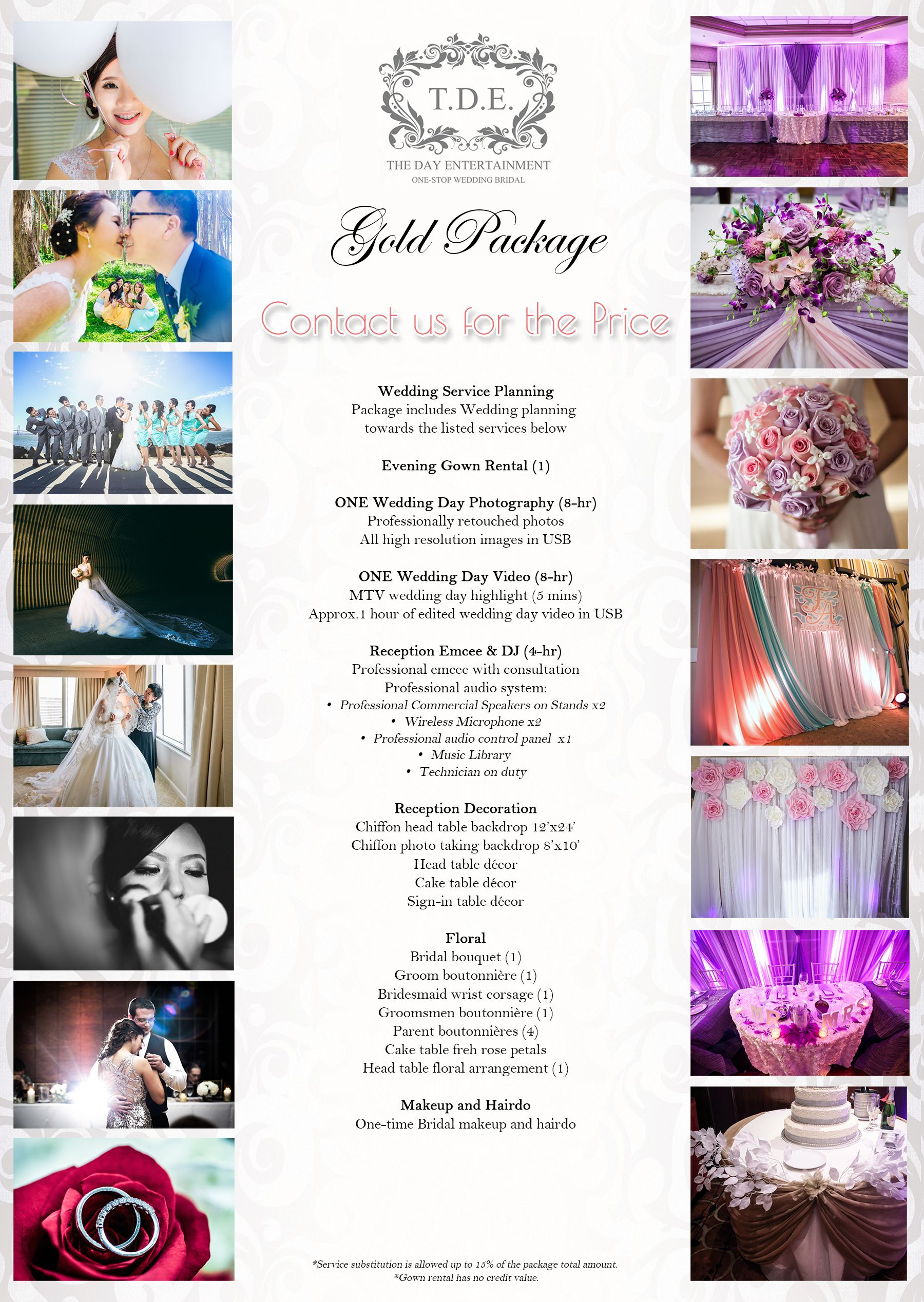 Wedding Decor Rental Prices Luxury Gold Package Tde Wedding Wedding Rentals Decor Wedding Decorations Wedding Party Planner
