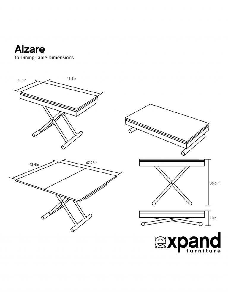 Alzare Square Transforming Coffee Table Expand Furniture
