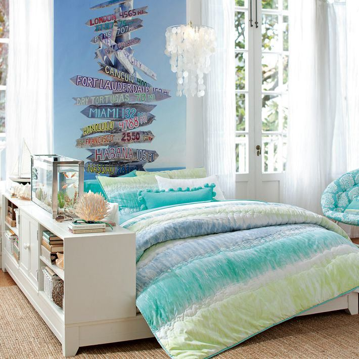 What A Gorgeous Bedroom For Girl It Is. This Is A Beach Theme With Bed  Cover And Chair For Teenage Girl Bedroom. One Of The Best Beach Themed  Teenage ...
