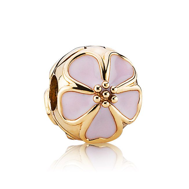 Moments Cherry blossom gold clip with pink enamel, Pandora