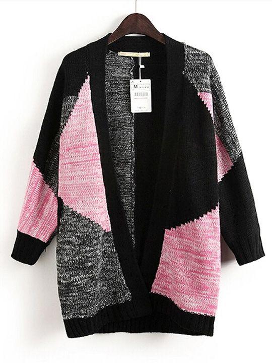 Black & Gray & Pink Geometric Color Block Sweater Cardigan ...