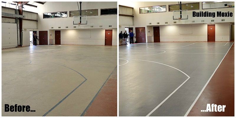 Painting A Basketball Court Building Moxie Basketball Floor Basketball Court Indoor Basketball Court