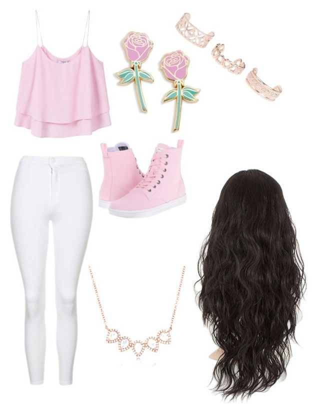 """PrettyInPink"" by alannahill4 ❤ liked on Polyvore featuring Topshop, Dr. Martens, MANGO, Big Bud Press, New Look and Anne Sisteron"