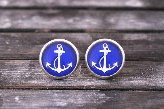 Blue & white anchor earrings brass earrings post by SomeMagic, $9.50