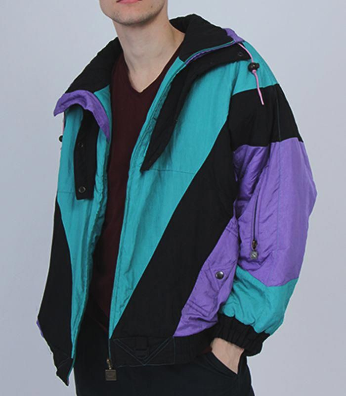 5f06c9f071 Men s Ski Jacket Winter Clothing Snow Black Green 1980s Jacket 80s Jacket  Rodeo Urban Ski Wear Snow Wear Resort Vacation shining  Jackets
