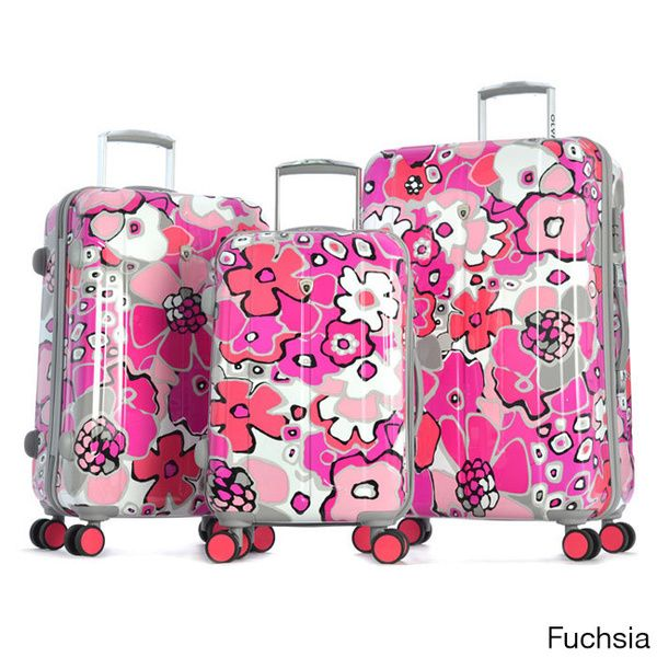 Olympia 'Blossom II' 3-piece Hardside Spinner Luggage Set with TSA ...