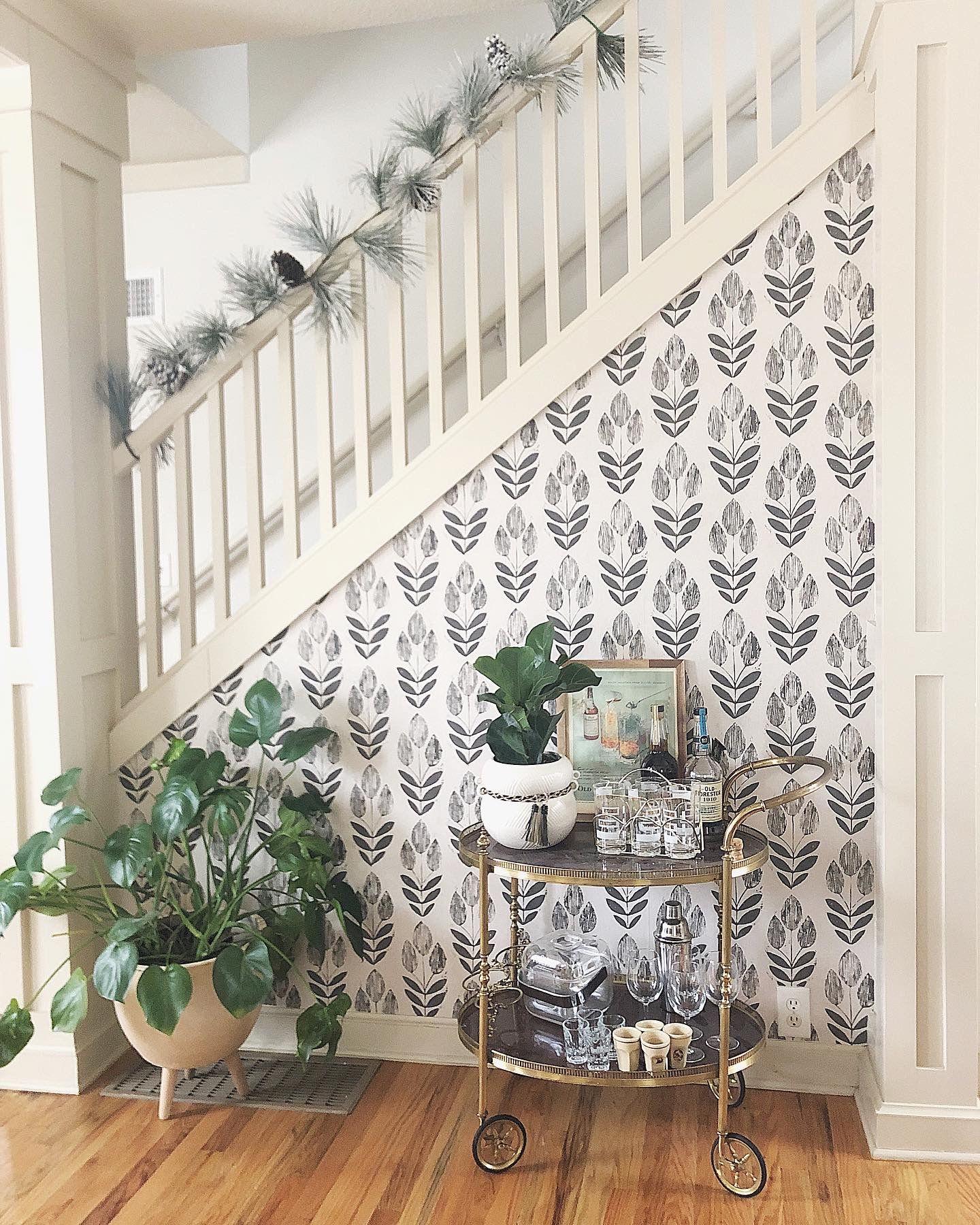 A little Scandinavian wallpaper accent wall at the Airbnb ...