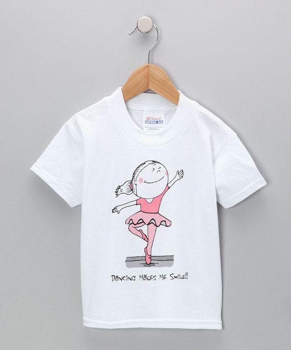 Love this Dance World Bazaar White 'Dancing Makes Me Smile' Ballerina Tee - Toddler & Girls by Dance World Bazaar on #zulily! #zulilyfinds