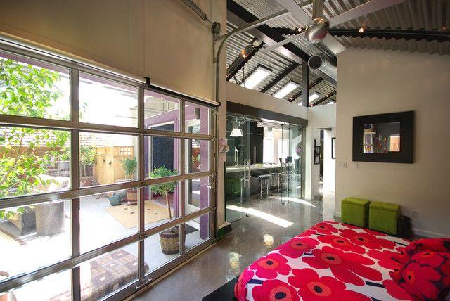 Modern. modern Interior Glass overhead door   Interior Garage Doors