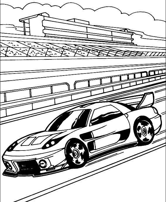 Track Race Car Sport Coloring Page