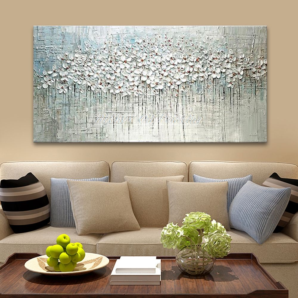 Hand Painted Thick Palette Knife Flower Oil Painting On Canvas Abstract Wall Painting Living Room Home Wall Decor Abstract Wall Painting Oil Painting Flowers Oil Painting On Canvas #oil #painting #living #room