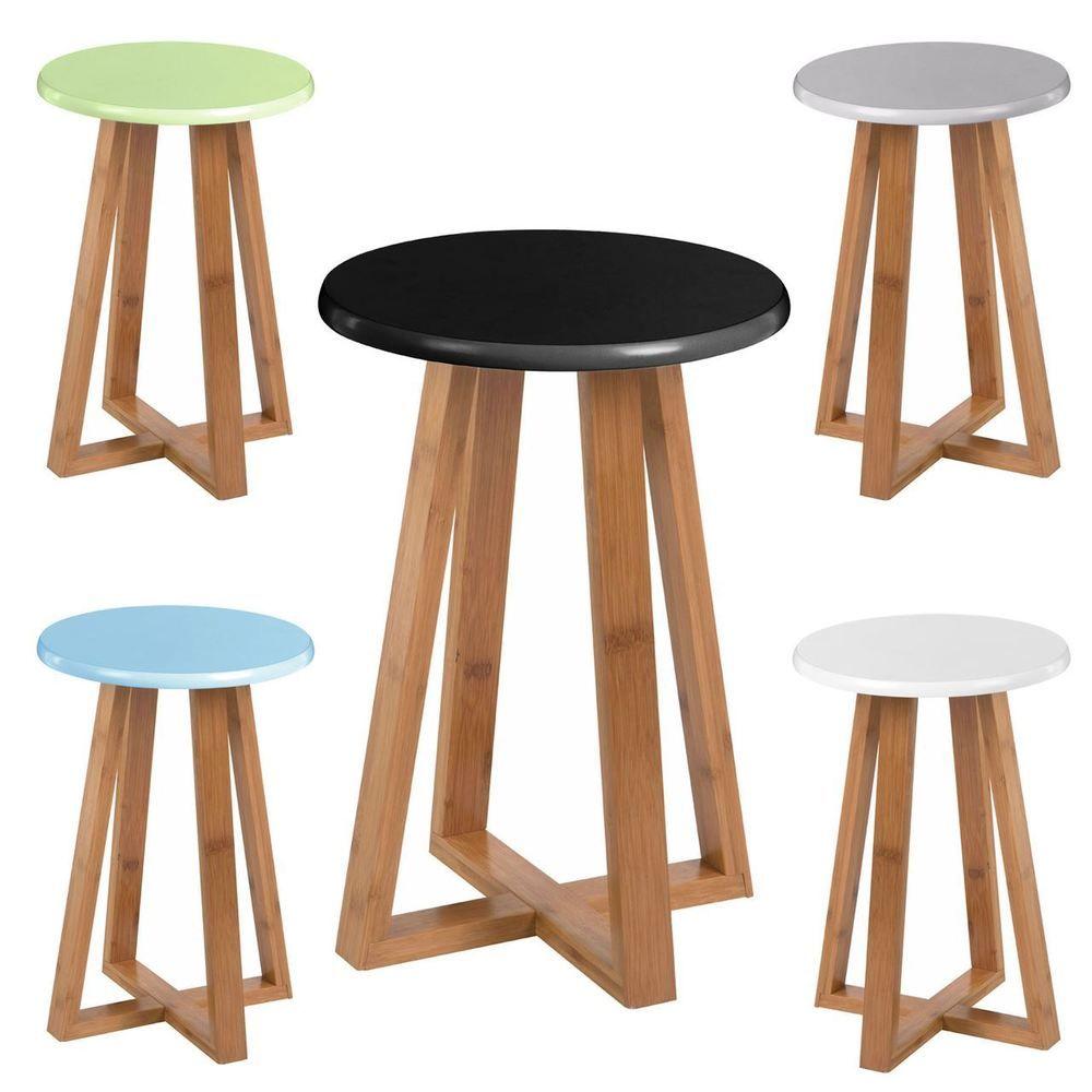 Viborg Round Stool / Bamboo Wood Base Legs / Breakfast Bar Rest Kitchen