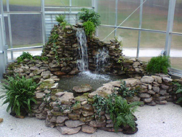 Indoor waterfall garden watergardens and ponds aquatic for Indoor koi fish pond