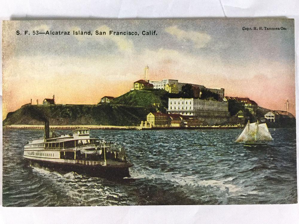 Vintage Alcatraz Island San Francisco Ca Postcard Unposted Early