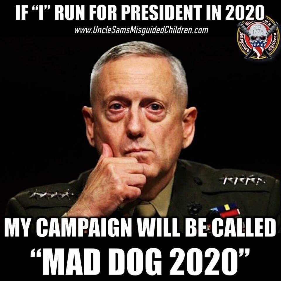 58e460c5bc8250e753e2cfc178bf1c80 general mad dog mattis would get my vote any day!! u s m c,Mattis Meme