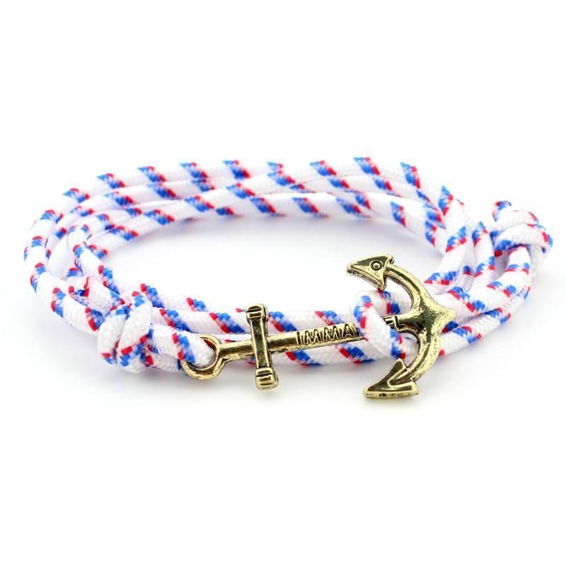 Golden Anchor Wraparound Nylon Cord Bracelet [8 colors]