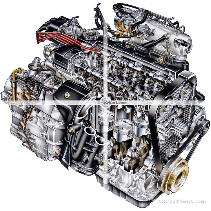 Automotive illustration of car engine cutaway. | Car engine, Engineering,  Used enginesPinterest