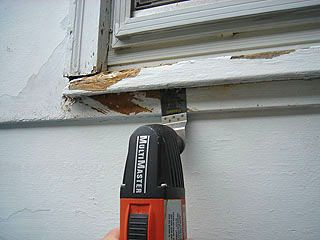 Using Fein Multimaster to cut protruding sill flush with