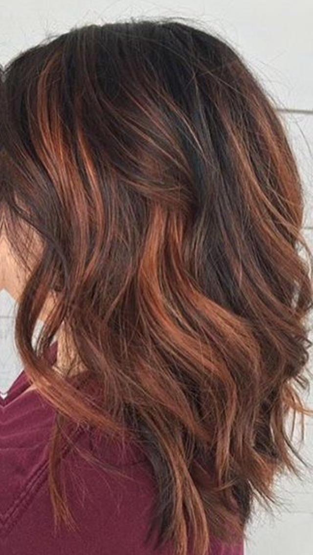 Black Hair With Copper Highlights Hair Styles Dark Brown Hair Color Medium Hair Styles