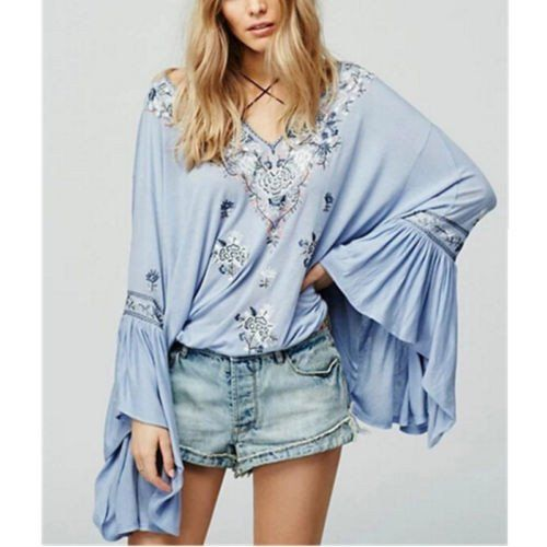 Bell Sleeve Boho Top Siren Song Light Blue Embroidered Peasant Top With Tassels Sizes Small Medium Or Large Boho Tops Casual Tops For Women Bell Sleeves Top Boho