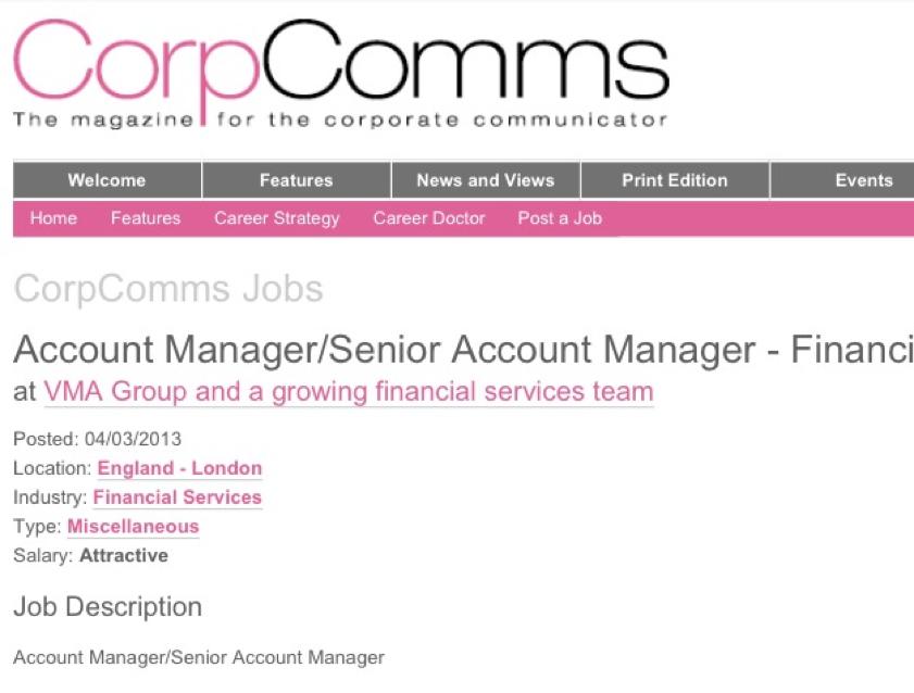 Account Manager Job Description Includes Need For Social Media