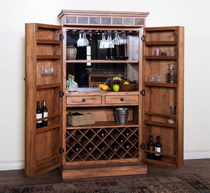 Sedona Collection Rustic Oak Finish Wood Bar Armoire Cabinet With Glass  Hangers And Wine Racks