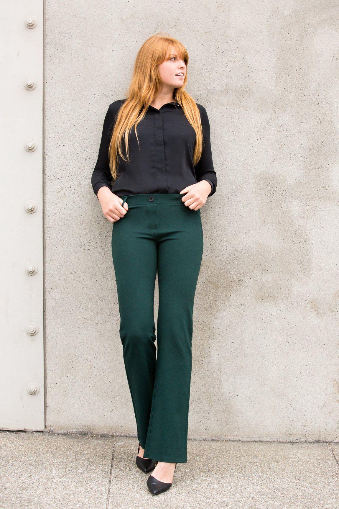 159b15128e928 Boot-Cut | Emerald-Twill Dress Pant Yoga Pants | Athleisure Dress ...