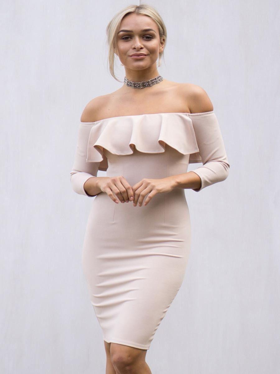 2017 straight collar lotus leaf dress || Spring new fashion sleeves hip dress
