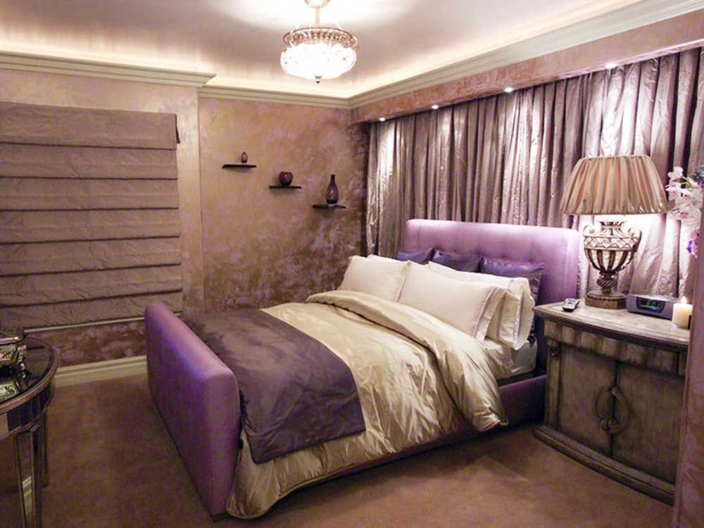 elegant purple women bedroom in rustic design - Elegant Bedroom Ideas