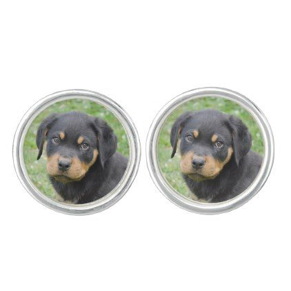 #Doggy McDogface Rottweiler Puppy Cufflinks - #rottweiler #puppy #rottweilers #dog #dogs #pet #pets #cute