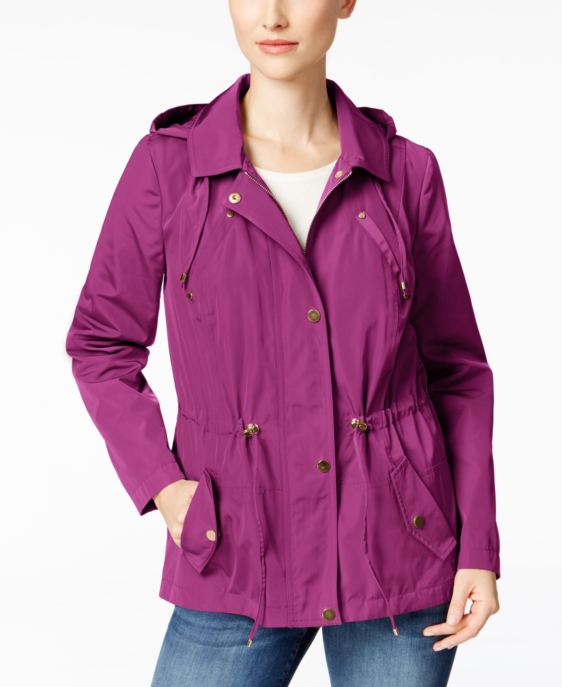 34128febb Charter Club Water-Resistant Hooded Utility Jacket