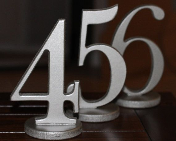 Silver Or Pewter Wedding Table Numbers Metallic By Zcreatedesign 110 00