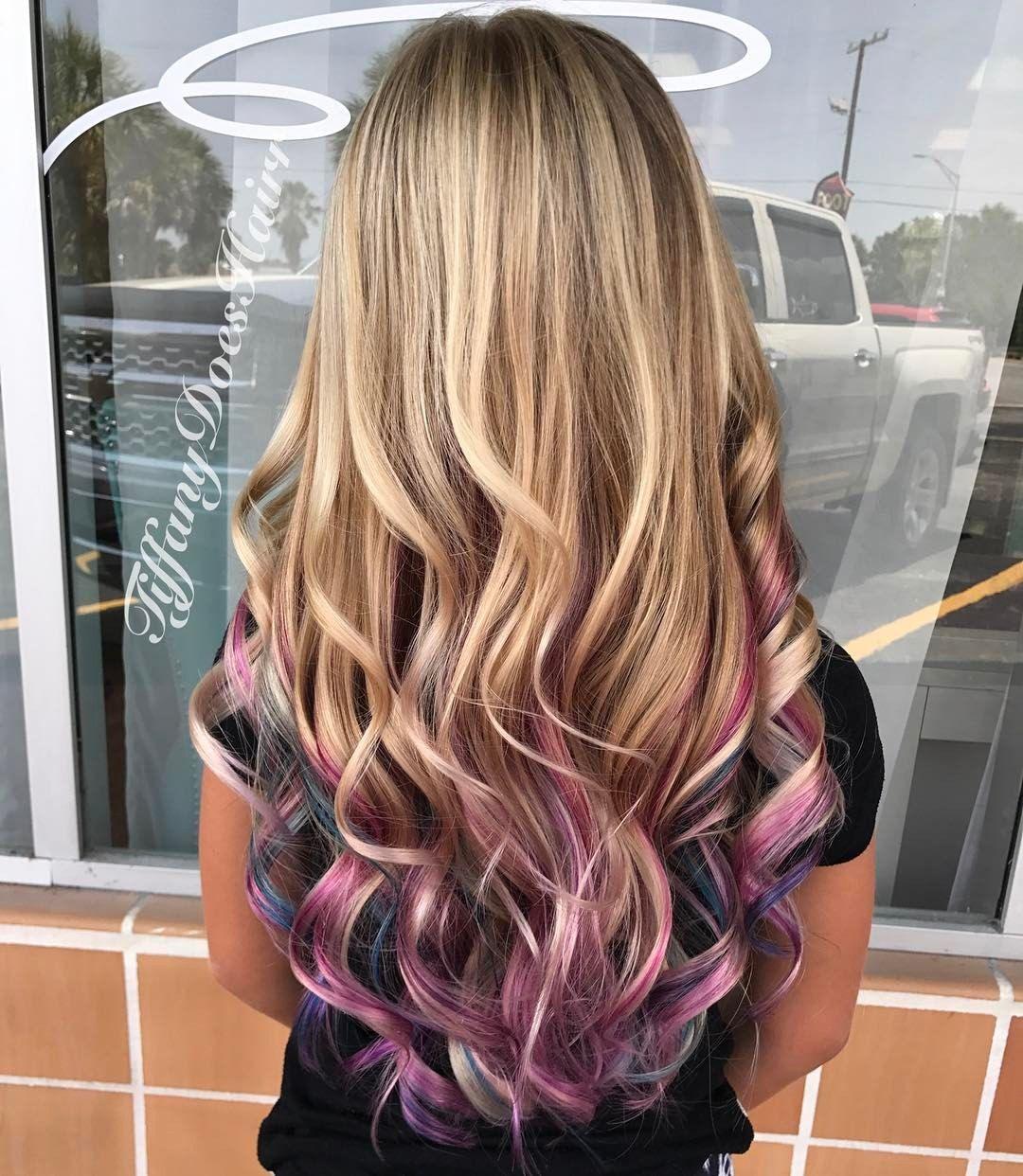 Blonde Pastel Pink Purple And Blue Peekaboo Highlights 13 Likes 1 Comments Tiffany Allen Tiffanydoe Kids Hair Color Peekaboo Hair Purple Hair Highlights