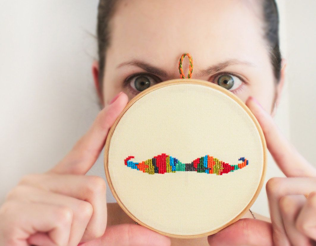 Olympic Mustache Embroidered hoop Funny wall decor Hand's embroidery Summer home decor Rainbow red orange green blue. $49,00, via Etsy.