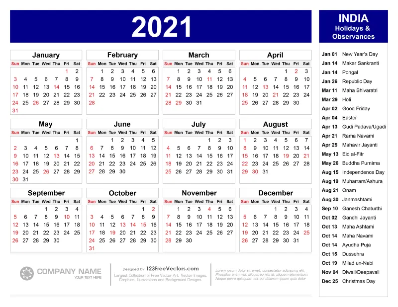 Free 2021 Calendar with Indian Holidays Pdf   Free calendar