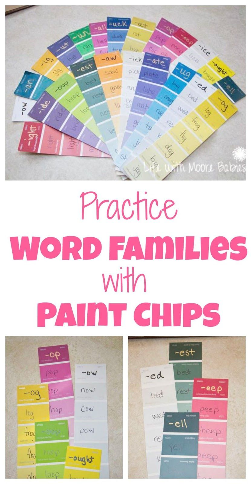 Paint Chip Word Families is part of Word families, Word family activities, Family learning, Words, Phonics activities, Rhyming words - A colorful handson way to practice word families!