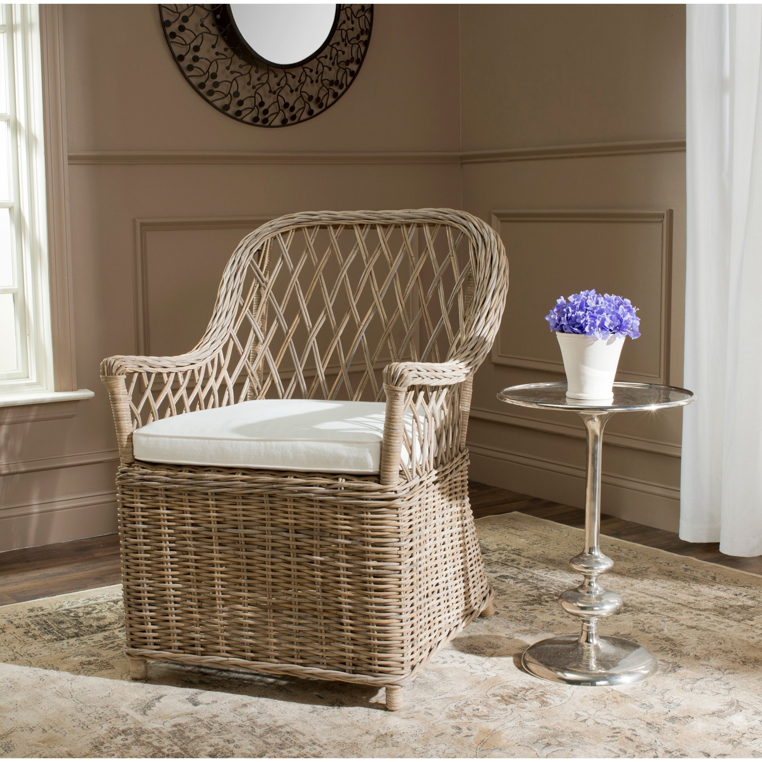 Casual and charming, the Maluka Kubu grey rattan arm chair with off ...