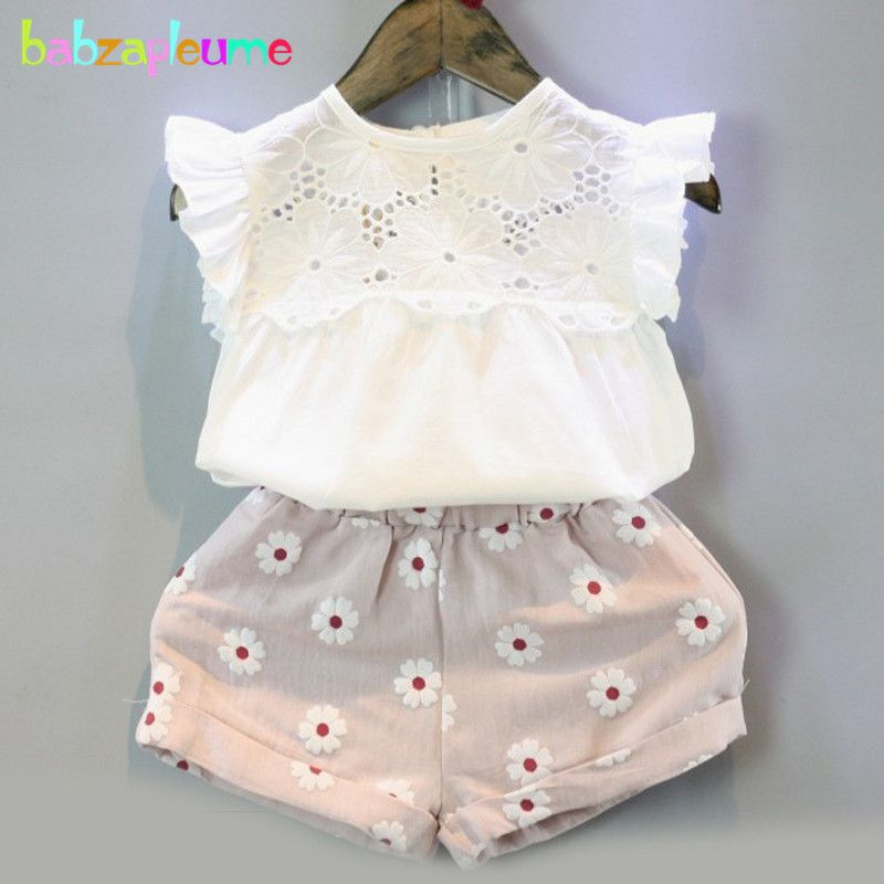 738e68dc402 2PCS 2-6Years Summer Korean Kids Clothes Sleeveless White T-shirt+Pink  Shorts Baby Girls Suits For Children Clothing Sets BC1025