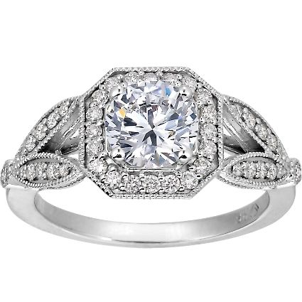 With the cushion cut diamond it's got character and sparkle, just amazing!!! Platinum Luxe Victorian Split Shank Halo Diamond Ring from Brilliant Earth