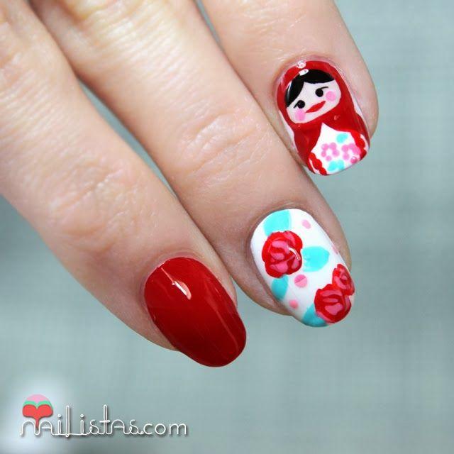 Uñas decoradas con Matrioska | Matryoshka nail art https://www ...